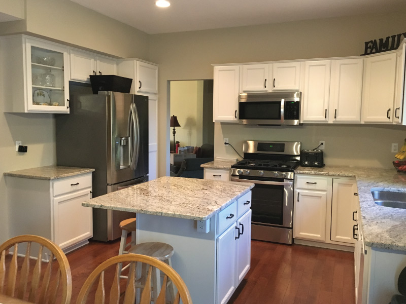 White kitchen cabinet painting in Apple Valley