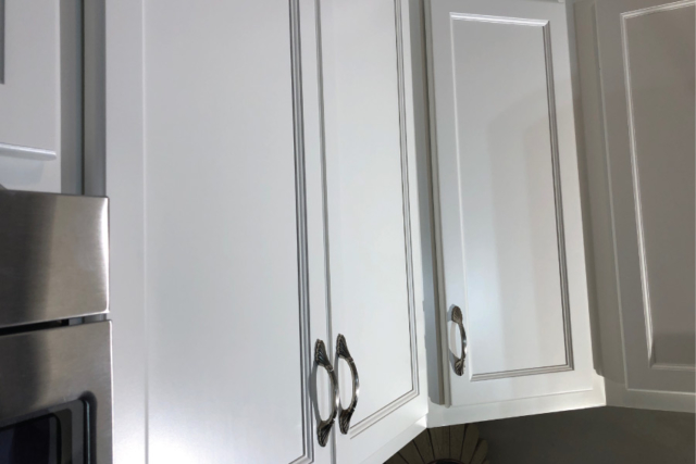 Close up of painted cabinet door