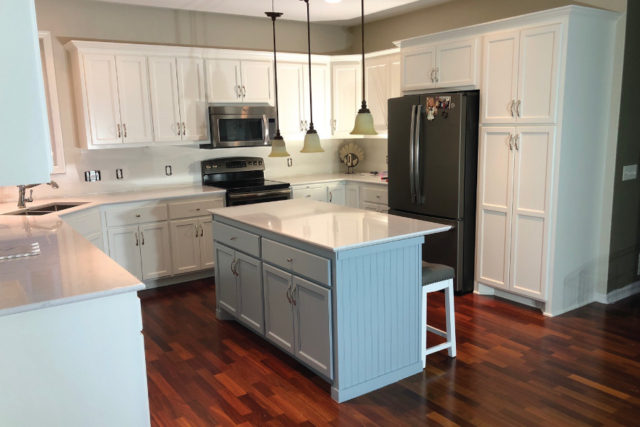 White Dove Painted Cabinets with Island Accent