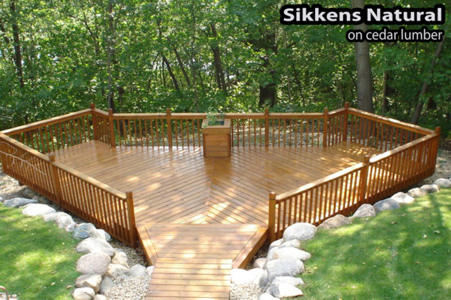 Bloomington deck after staining with Sikkens in Natural Tone