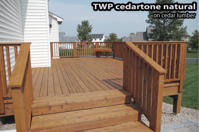 Wood deck in St Paul stripped, cleaned and stained with TWP CedarTone Natural