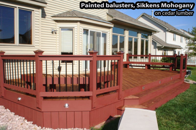 Minnesota wood deck sanded and stained with Sikkens Mahogany