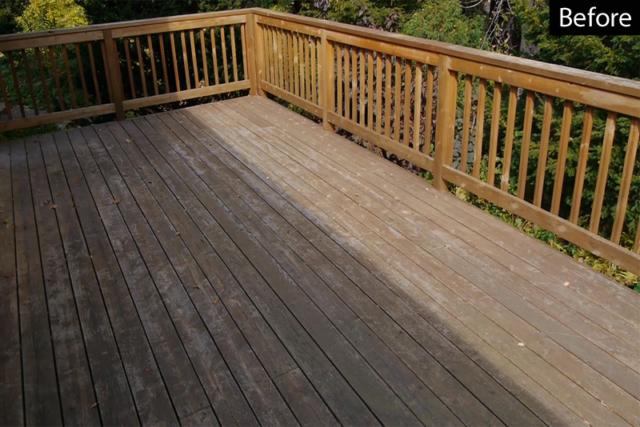 Worn wood cedar deck