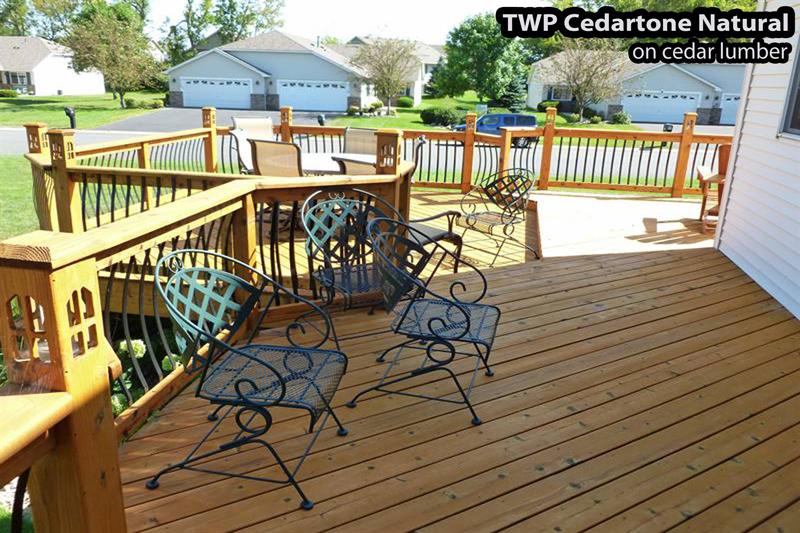 Wood deck refinished and stained in Bloomington with TWP cedartone natural