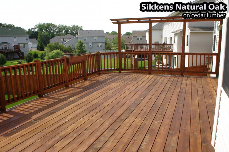 Lakeville wood deck stained with Sikkens Natural Oak