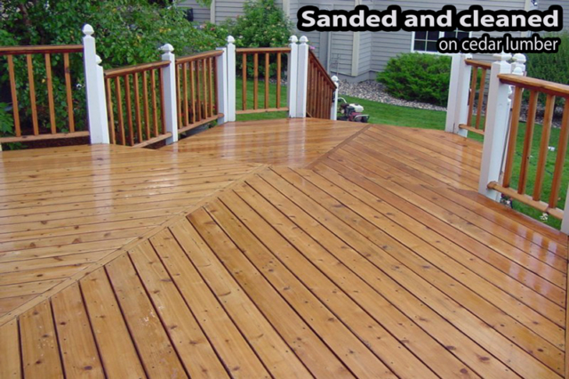 wood deck after sanding and cleaning