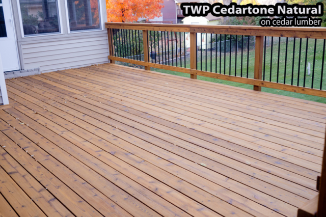 Minneapolis Deck after staining using TWP Cedar Tone Natural