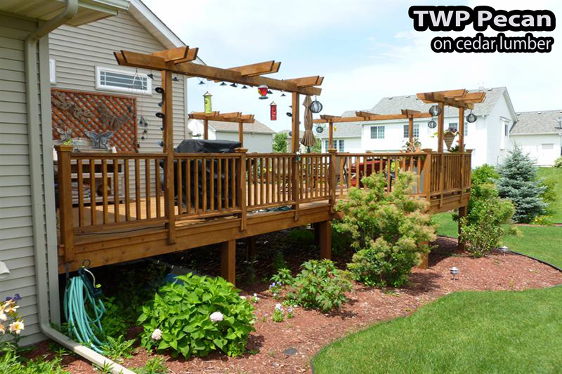 deck in Minneapolis MN stained with TWP Pecan