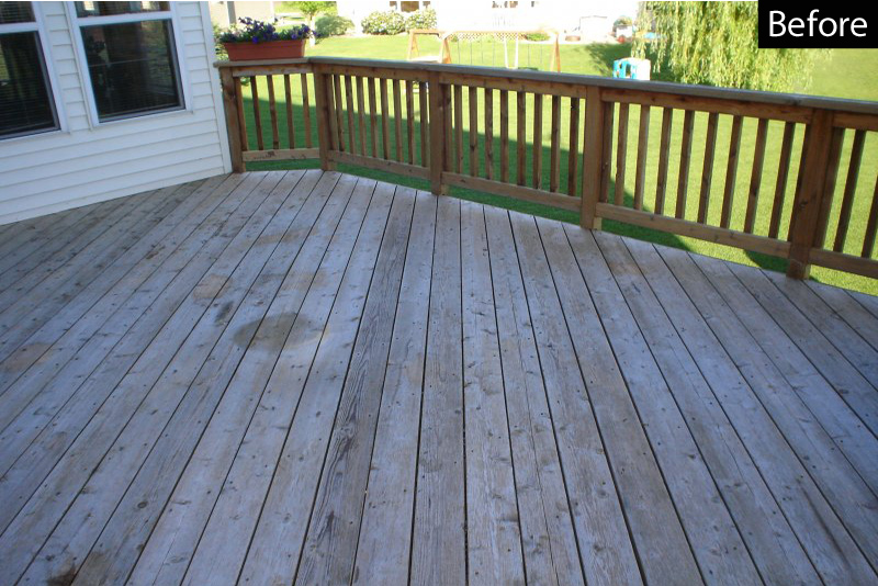 Deck raw and damaged from sun