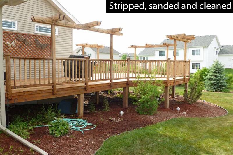 stripped and sanded wood deck
