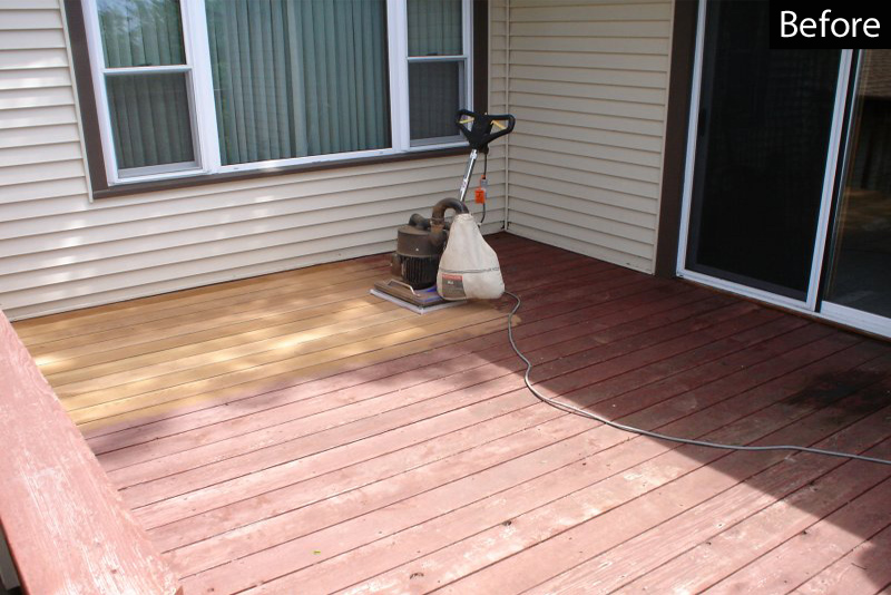 Sanding to remove old stain on a wood deck