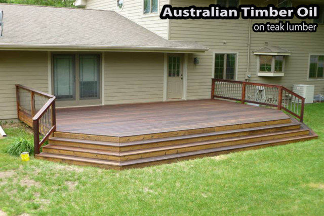 Teak wood deck in Bloomington refinished with Australian Timber Oil