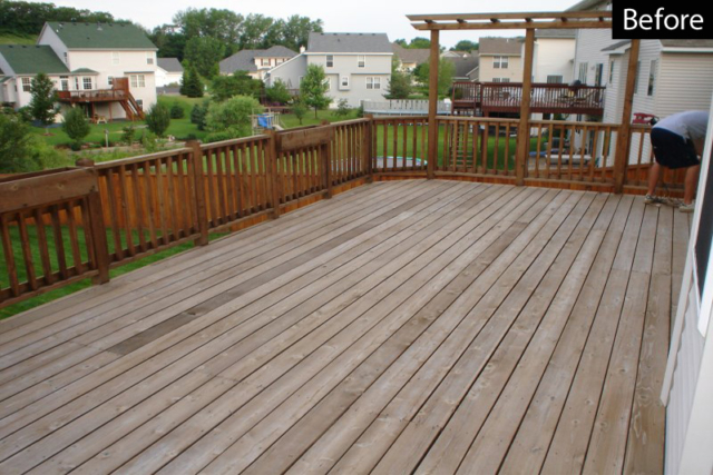 weathered deck ready for pressure cleaning