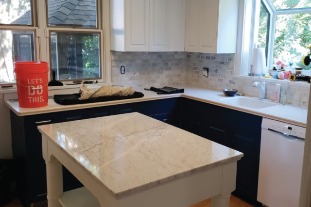 Two toned kitchen cabinet painting in Minneapolis