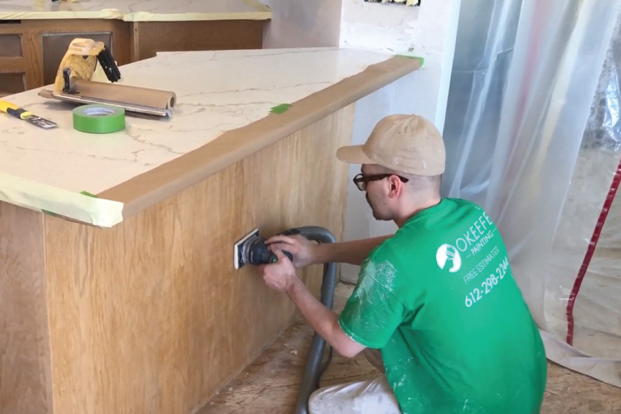 Using festool to scuff sand cabinet boxes before oil priming