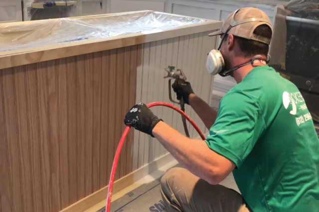 Oil priming wainscoting on center island for home in Rosemount