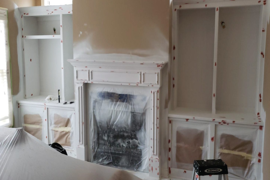 cabinets prepped with oil and spot filled with bondo
