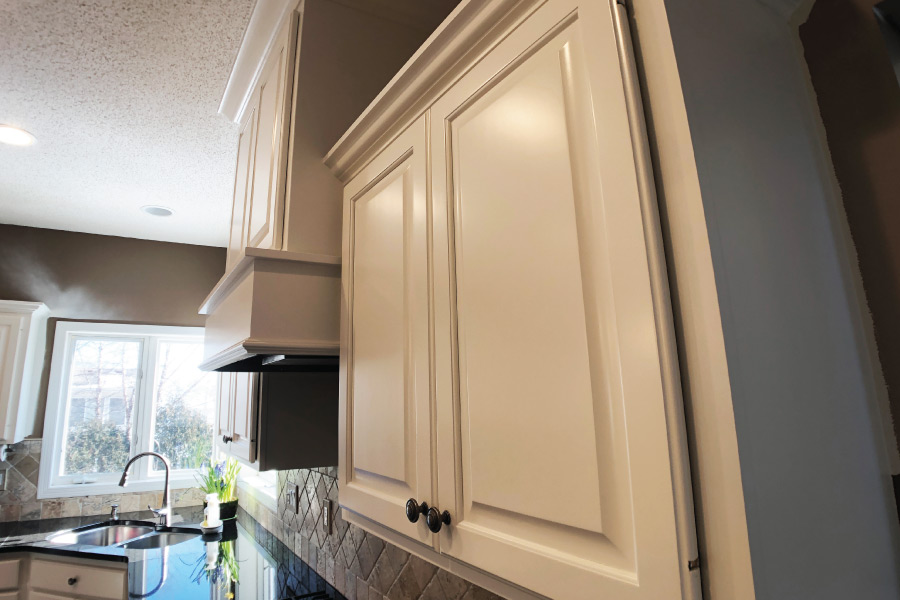 Benjamin Moore White Dove applied to kitchen cabinets