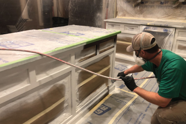 Painting cabinet boxes with airless sprayer