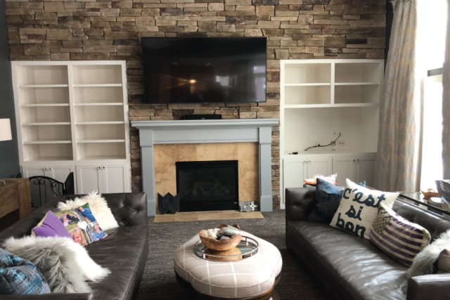Built in entertainment cabinets painted with Sherwin Williams Marshmallow color
