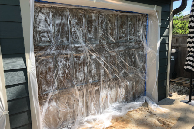 Stripping chemical dwelling on surface covered with plastic