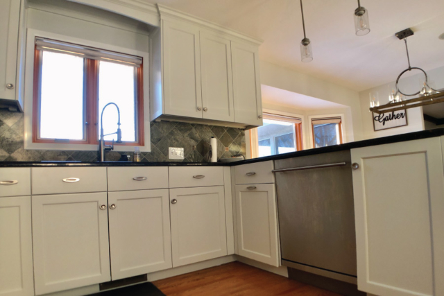 Detailed kitchen cabinet painting project in Minneapolis