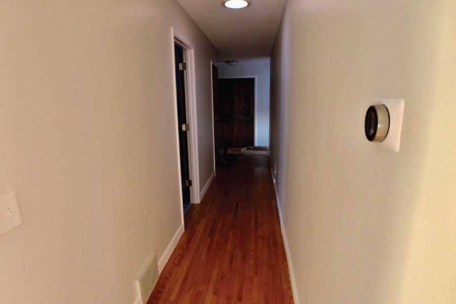 Hallway walls painted with Benjamin Moore Scuff X